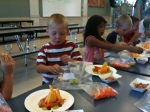 Snack time at Deer Park Elementary! Students turn healthy snacks into a campfire they can eat.