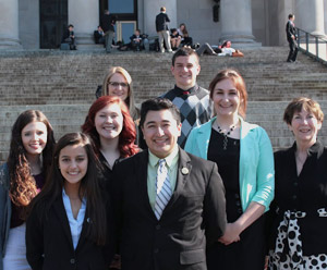 Cal, in the back, with other members of the Youth Legislature in Olympia