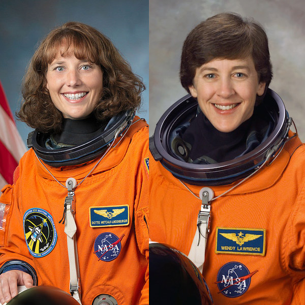 Astronauts Dottie Metcalf-Lindenburger (left) and Wendy Lawrence (right)